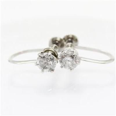 プラチナ0.6ctダイヤリング 指輪6爪スクリュー式イヤリング【代引不可】