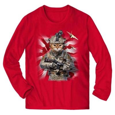 【三毛猫 オレンジ猫 ねこ 兵士 日本 日の丸】メンズ 長袖 Tシャツ by Fox Republic