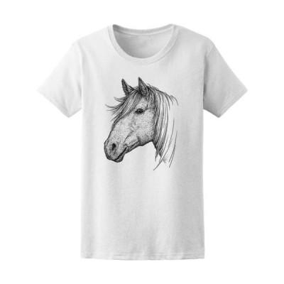 レディース 衣類 トップス Modern Drawing Horse Head B&W Tee Women's -Image by Shutterstock Tシャツ