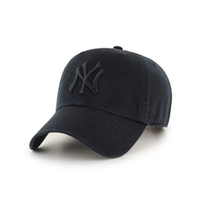 '47 New York Yankees Strapback Brand Clean Up Adjustable Cap Hat (Black on Black)【並行輸入品】