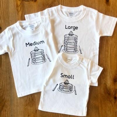 3人兄弟姉妹でおそろい  パンケーキ Small×Medium×Large プリント  Tシャツ3枚組ギフトセット   出産祝い プレゼント
