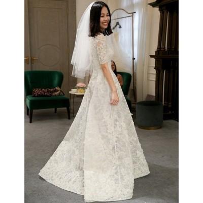 ウエディングドレス aライン 白 レース ボレル 安い ウェディングドレス Aラインドレス 花嫁 結婚式  パーティードレス 二次会 ブライダル ロングドレス