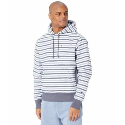 チャンピオン パーカー・スウェットシャツ アウター メンズ Reverse Weave Pullover Hoodie - All Over Print Text Stripe Peppercorn Grey