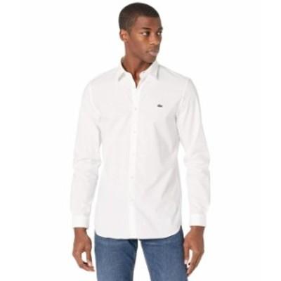 ラコステ メンズ シャツ トップス Slim Fit Casual Solid Extensible Popeline Shirt White