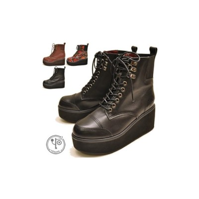 【クリアランス】 厚底ブーツ レースアップブーツ 本革 YOSUKE ヨースケ 靴