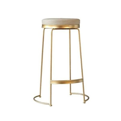 Home Furniture Modern Wrought Iron Barstool Kitchen Breakfast Stool Coffee Shop Restaurant Gold Leisure Chair High Stool Footrest Design(Col