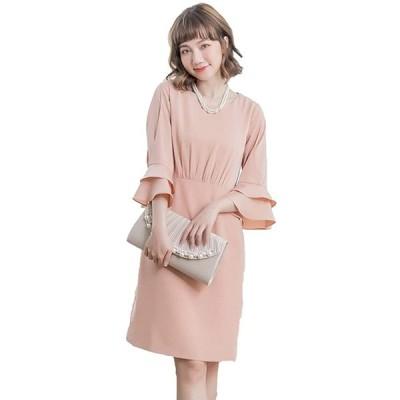 【未使用】ACUX(エックス) ドレス 袖あり ワンピース 結婚式 フォーマル ワンピース【L・ピンク】dx-45