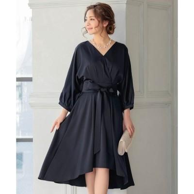 ドレス リボン ベルト付き 七分袖 フィッシュテール ミディアム丈 ワンピース パーティードレス