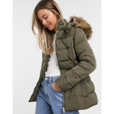 ニュールック レディース コート アウター New Look fitted padded jacket in khaki Khaki