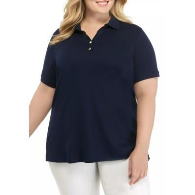 キムロジャーズ カットソー トップス レディース Plus Size Short Sleeve Polo Shirt  Navy