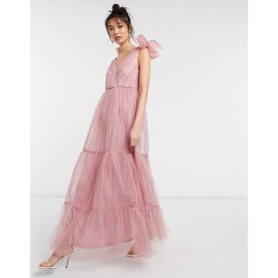 エイソス レディース ワンピース トップス ASOS DESIGN tulle bow tie tiered maxi dress in rose Rose