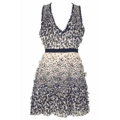 ファッション ドレス Foxiedox Juniors Navy Blush Sleveless Printed Applique A-Line Dress XS