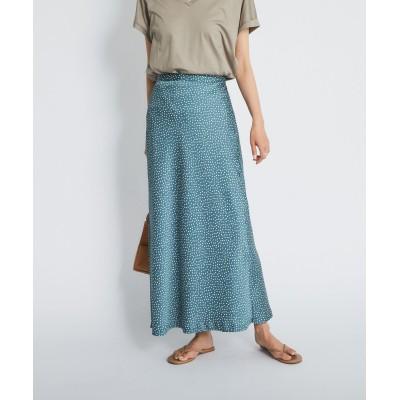 【縦長ラインでスタイルアップ】ハンマーサテンドットスカート