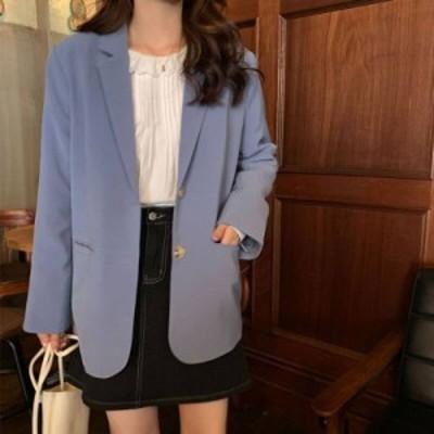3色 テーラード ジャケット アウター シンプル 通勤 通学 ブルー ベージュ ブラック レディース ファッション 韓国 オルチャン
