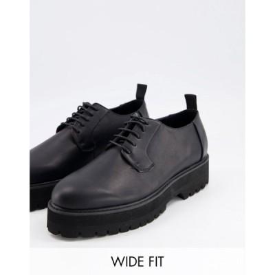 エイソス ASOS DESIGN メンズ 革靴・ビジネスシューズ シューズ・靴 Wide Fit Lace Up Shoes In Black Faux Leather On Raised Chunky Sole ブラック