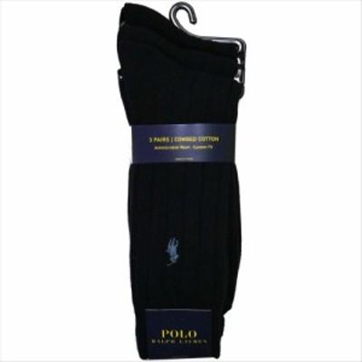 POLO RALPH LAUREN ソックス 8092PK 3足セット color401 ネイビーブルー ポロラルフローレン 靴下 ストライプ ハイソックス 紺 メンズ