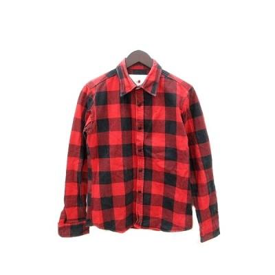 【中古】マーカ marka シャツ 長袖 チェック 2 赤 レッド /ST メンズ 【ベクトル 古着】