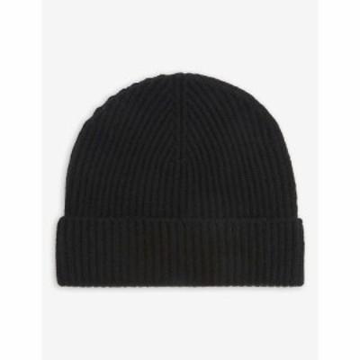 ジョンストンズ JOHNSTONS レディース ニット ビーニー 帽子 Ribbed cashmere beanie hat BLACK