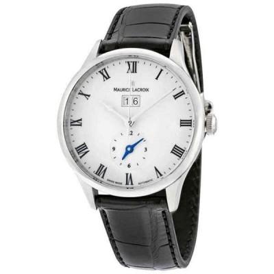 腕時計 モーリスラクロア メンズ Maurice Lacroix Masterpiece Tradition White Dial GMT Black Leather Men's Watch