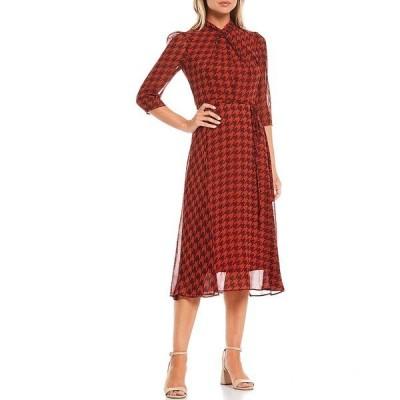 メゾン タラ レディース ワンピース トップス 3/4 Sleeve Houndstooth Twist Neck Midi Chiffon Dress Spice Fig