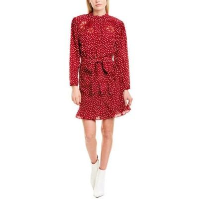 レベッカテイラー ワンピース トップス レディース Rebecca Taylor Mock Neck Silk Mini Dress crimson
