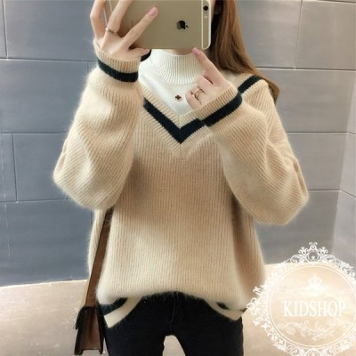 ニットセーター レディース ニット重ね着 ハイネック3色 長袖 大人 ゆったり 着やすい セーター カジュアル人気 秋冬