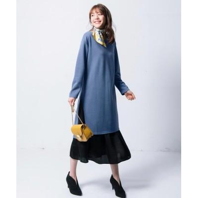 【大きいサイズ】 2点セット(カノコ素材サイドスリットワンピース+ギャザースカート) ワンピース, plus size dress