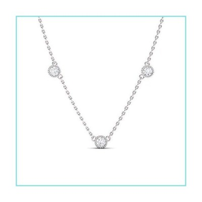 Diamondere 天然ダイヤモンド3石プチヤードネックレス 14Kホワイトゴールド 0.51カラットペンダント チェー