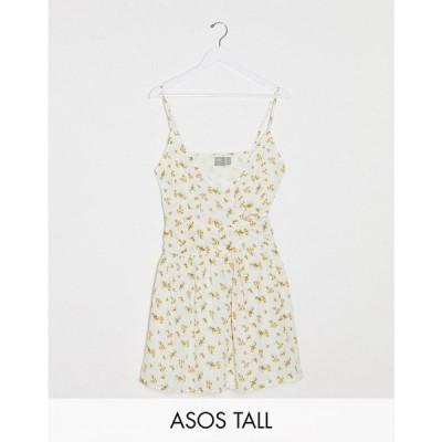 エイソス ASOS Tall レディース ワンピース サンドレス ミニ丈 ASOS DESIGN Tall tie wrap around crinkle mini sundress in ditsy floral フローラル