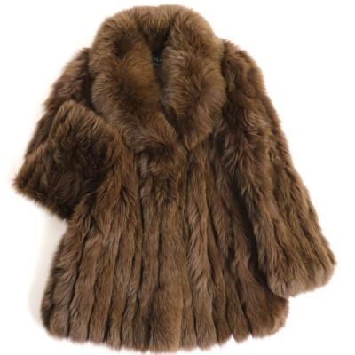 毛並み美品▼MOONBAT FOX ムーンバット フォックス 本毛皮コート カーキブラウン ボリューム◎