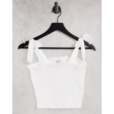 スタイルチート レディース シャツ トップス Style Cheat tie shoulder shirred top in white