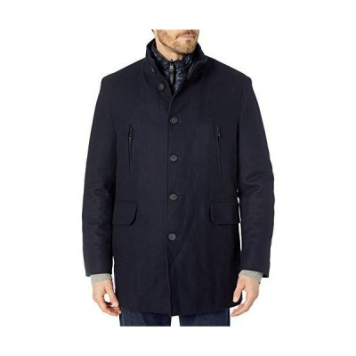 Cole Haan Men's Melton 3-in-1 Wool Jacket with Removable Bib, Navy, X-Large