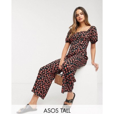 エイソス ASOS Tall レディース オールインワン ジャンプスーツ tall square neck tea jumpsuit in red floral print レッドフローラルプリント