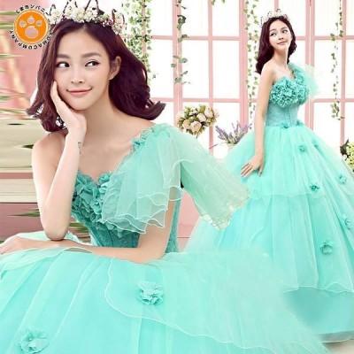 ウェディングドレス カラードレス ロング パーティードレス 大きいサイズ 結婚式 二次会 おしゃれ