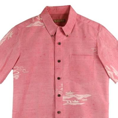 アロハシャツ Lサイズ メンズ 紬 着物アロハ 和柄シャツ 着物シャツ クールビズ 和柄 ボタンダウン ピンク シンプル