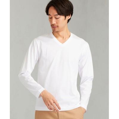 【グリーンレーベルリラクシング】 CM オーガニック クリア Vネック LS Tシャツ メンズ ホワイト M green label relaxing