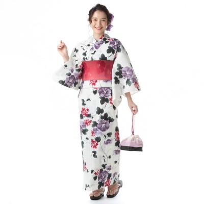 レディース 3点セット浴衣(朝顔と紫陽花) 朝顔/紫陽花柄 フリー