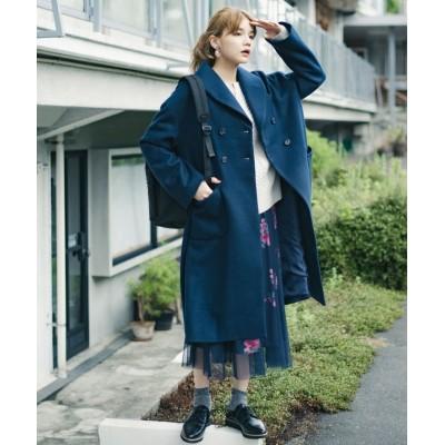 【ハコ】 パッと着るだけでオシャレに見えるテントラインロングコート レディース ネイビー 2 haco!