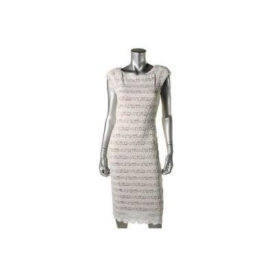 海外セレクション ドレス ワンピース ABS by Allen Schwartz 9987 レディース アイボリー Cut-Out Scalloped Cocktail ドレス L BHFO
