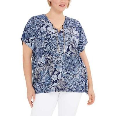 マイケルコース カットソー トップス レディース Plus Size Paisley-Print Lace-Up Tunic Top True Navy