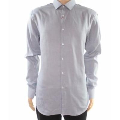 BOSS ボス ファッション ドレス Hugo Boss NEW Blue Mens Size 17 Dot Textured Sharp Fit Dress Shirt