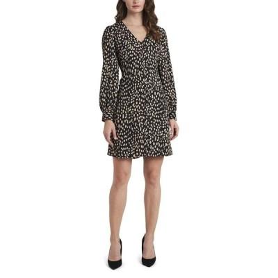 ヴィンスカムート ワンピース トップス レディース Petite Long Sleeve Animal Print V-Neck Dress Rich Black