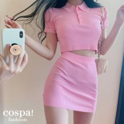 ニット レディース セットアップ 2枚セット ニットスカート 半袖セーター セクシー 韓国 20代 30代 40代