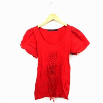 【中古】アーキ archi Tシャツ カットソー 丸首 半袖 コットン 綿 S レッド 赤 /MT13 レディース