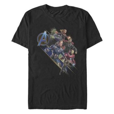 マーベル Tシャツ トップス メンズ Men's Avengers Endgame Group Action, Short Sleeve T-shirt Black