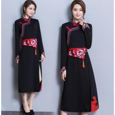 限定50枚 セール! レディース ワンピースドレス 中国風 チャイナ風 花柄 ゆったり ボタン  ナチュラル エスニックリネン ふんわ