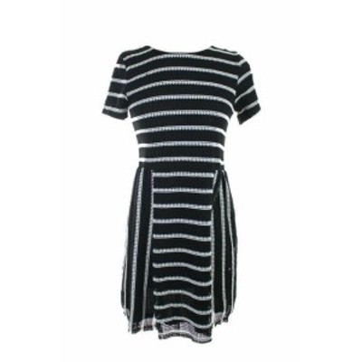 ファッション ドレス Bar III New Black Short-Sleeve Striped Perforated Dress S