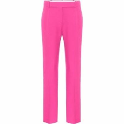 ヴァレンティノ Valentino レディース スキニー・スリム ボトムス・パンツ High-rise slim wool and silk pants Shocking Pink
