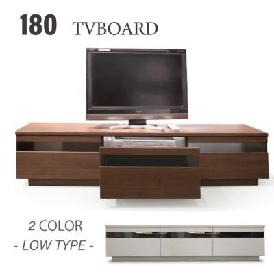 テレビボード ローボード 180幅 テレビ台 引き出しはオープンスライドレールで軽く出し入れができ、ブラックガラスでシンプルなスタイルのTVボードです。