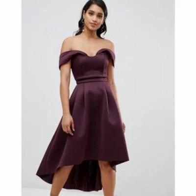 エイソス ワンピース ASOS Bardot Cold Shoulder Dip Back Midi Prom Dress Aubergine